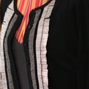 CAbi dressmaker trimmed black cardigan.